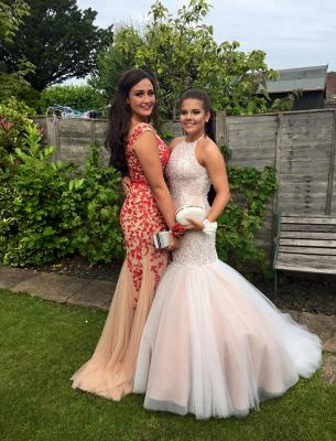 Luxury Sleeveless Beadings Evening Dress UK Long Tulle Lace-up Party Dress UK_1