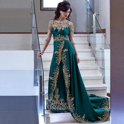 Luxury Half Sleeve Evening Dress UK Lace Appliques Online_3