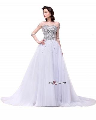 Long-Sleeves Crystal Elegant Lace-Up Tulle Wedding Dress_3