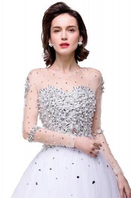 Long-Sleeves Crystal Elegant Lace-Up Tulle Wedding Dress_1