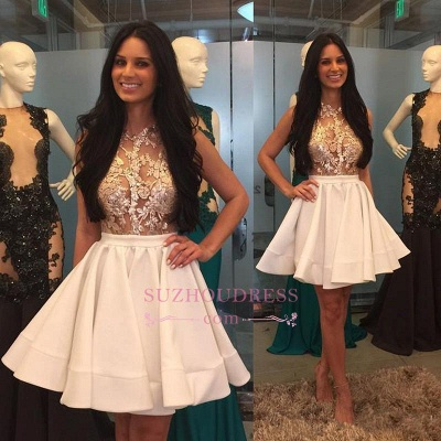 Mini Appliques High-Neck Lace Sheer Puffy-Skirt Pretty Homecoming Dress UKes UK_1
