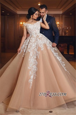 Off-the-shoulder Lace Evening Dress | Princess Wedding Dress With Appliques_4