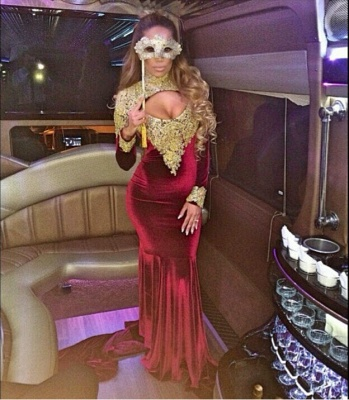 Stunning Long Sleeve Golden Appliques Evening Dress UKes UK Mermaid With Train_6
