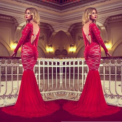 Elegant Red Long Sleeve Lace Prom Dress UKes UK Mermaid Long_4