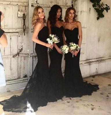 Sexy Black Sweetheart Mermaid Bridesmaid Dress UK Lace Wedding Reception Dress UK_5