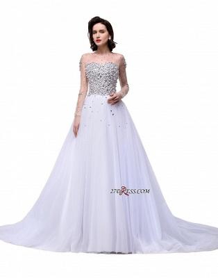 Long-Sleeves Crystal Elegant Lace-Up Tulle Wedding Dress_5