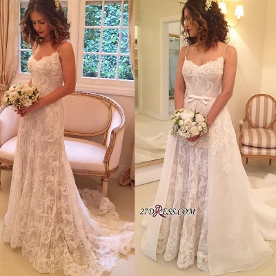 Backless  Sheath Spaghetti-Straps Appliques Wedding Dresses UK_1