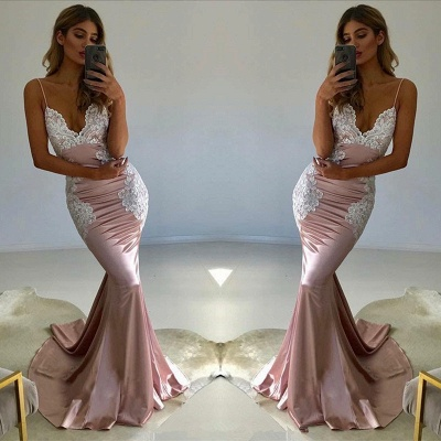 Spaghetti-Straps Lace Prom Dress UK | V-Neck Evening Party Gowns_3
