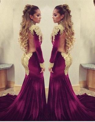 Stunning Long Sleeve Golden Appliques Evening Dress UKes UK Mermaid With Train_2