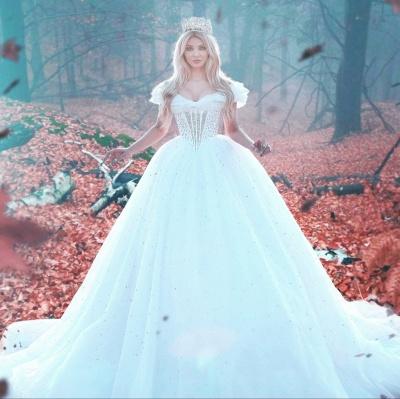 Elegant Off-the-shoulder Princess Wedding Dress Tulle Beads Sequins BA7469_3