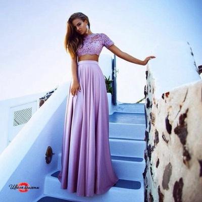 Luxury Two Pieces Lace Long Chiffon Prom Dress UK_1
