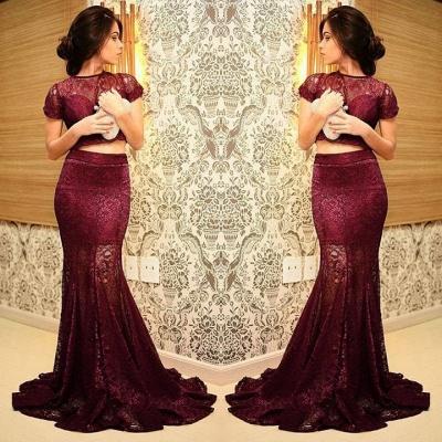 Elegant Mermaid Two Piece Lace Prom Dress UK Short Sleeve_2