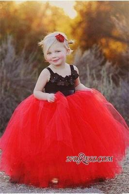 Lovely Black and Red Tulle Flower Girl Dress_3