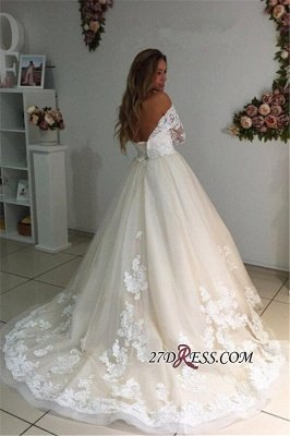Backless Appliques Lace Long A-Line Sleeves Ivory Tulle Wedding Dresses UK_2