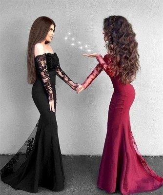 Delicate Lace Mermaid Long Sleeve Prom Dress UK | Off Shoulder Prom Dress UK BA9154_3