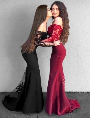 Delicate Lace Mermaid Long Sleeve Prom Dress UK | Off Shoulder Prom Dress UK BA9154_1