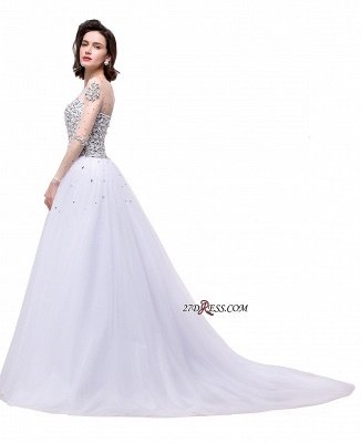Long-Sleeves Crystal Elegant Lace-Up Tulle Wedding Dress_2