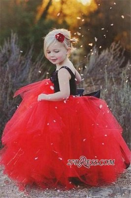 Lovely Black and Red Tulle Flower Girl Dress