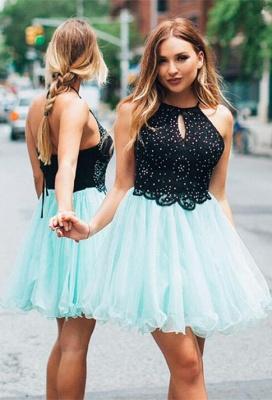Lovely Halter Short Homecoming Dress UK   Tulle Party Dress UK_1