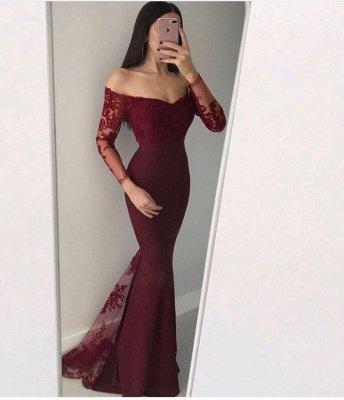 Chic Long Sleeve 2019 Evening Dress UK | Mermaid Lace Formal Dress UK_3
