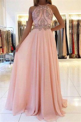 Pink Halter Long Prom Dress UK | Chiffon Evening Dress UK With Crystal_1