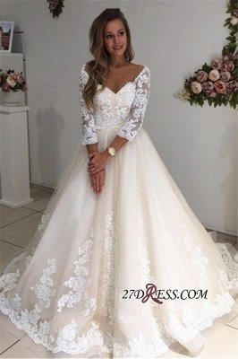 Backless Appliques Lace Long A-Line Sleeves Ivory Tulle Wedding Dresses UK_3
