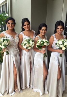 Elegant Lace Appliques Front Split Bridesmaid Dress UK A-line Floor-length_1