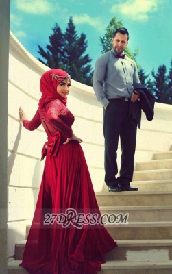 Elegant Red Lace Chiffon Prom Dress UK Long Sleeves Arabic Evening Gowns_2