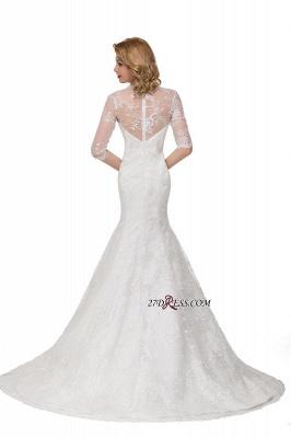 V-Neck Lace Elegant Zipper Half-Sleeves Sexy Mermaid Wedding Dresses UK_4