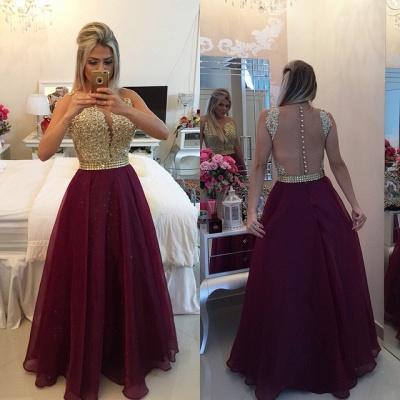 Elegant V-neck Sleeveless Prom Dress UK Beadings Crystals Floor-length_3