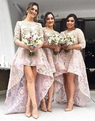 Luxury Half-Sleeve Lace Bridesmaid Dress UK Hi-Lo Dress UK_1