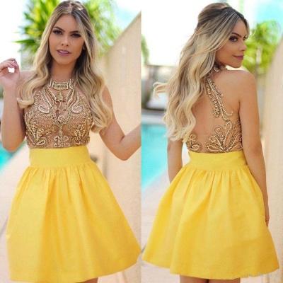 Charming Yellow Beadings Halter Short Homecoming Dress UK_3