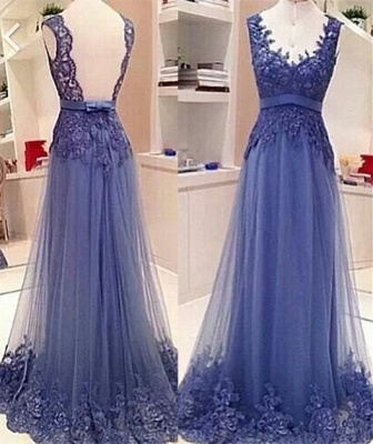 Sexy V-neck Sleeveless Prom Dress UK Open Back With Lace Appliques_1