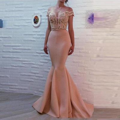 Luxury Off-the-shoulder Mermaid Pearls Zipper Evening Dress UK BA7121_3