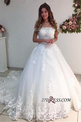 Off-the-Shoulder Lace Appliques A-Line Strapless White Wedding Dresses UK_2