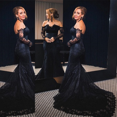 Elegant Black Mermaid Lace Evening Dress UK Long Sleeve Mermaid Party Dress UK Button Zipper Back BA7626_3