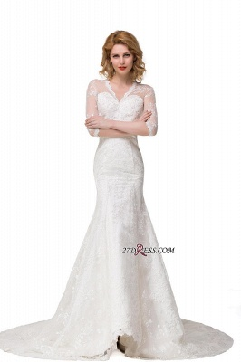 V-Neck Lace Elegant Zipper Half-Sleeves Sexy Mermaid Wedding Dresses UK_1