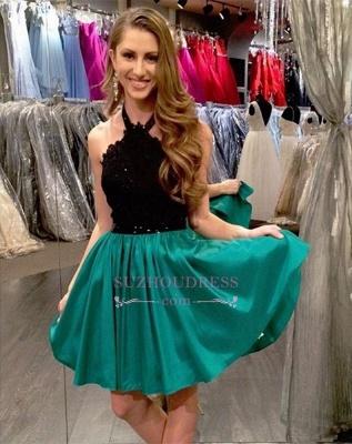 Black Lace Short Mini Sleeveless A-Line Halter Homecoming Dress UK_1
