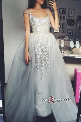 Sexy A-Line Scoop Appliques Cap-Sleeves Tulle Prom Dress UK_2