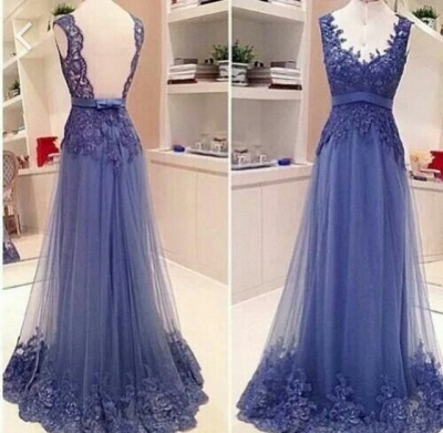 Sexy V-neck Sleeveless Prom Dress UK Open Back With Lace Appliques_2