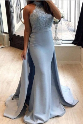 Lace Prom Dress UK With Ruffles | Mermaid Halter Long Evening Gowns_1
