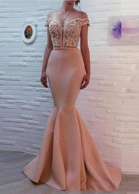 Luxury Off-the-shoulder Mermaid Pearls Zipper Evening Dress UK BA7121_1