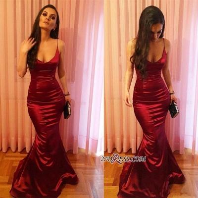 Elegant Spaghetti-Strap Prom Dress UK | Red Sleeveless Evening Party Dress UK_2