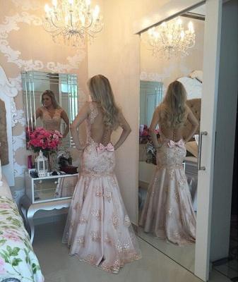 Modern V-neck Mermaid Evening Dress UK Sequins Sweep Train Bowknot BA4521_1