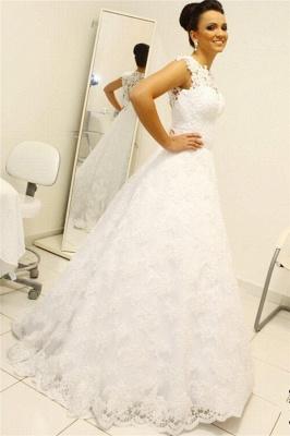 Newest Lace Appliques Wedding Dress A-line Zipper Button Back_3