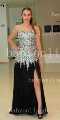 Rhinestone Long Black Prom Dress UKes UK Vestidos Dress UK New Sweetheart Top Crystal Chiffon Side Slit Gowns_2