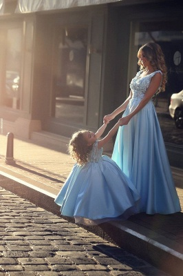 Newest Flowers Straps A-line Mother And Daughter Prom Dress UK Ball Gown BA4321_5