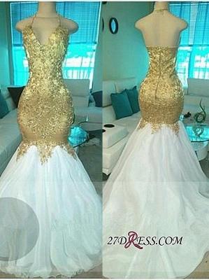 Mermaid Open-Back V-neck Elegant Beading Gold Prom Dress UKes UK BA5332_2