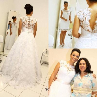 Newest Lace Appliques Wedding Dress A-line Zipper Button Back_4