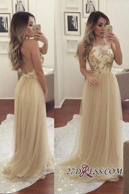 Beads Chiffon Newest A-line Sleeveless Spaghetti-Strap Prom Dress UK_1